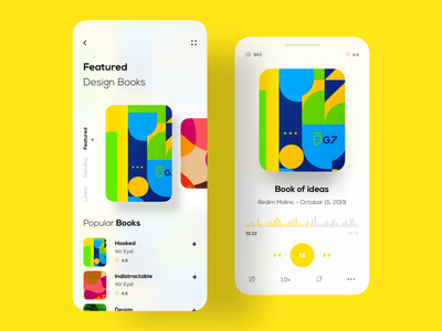 Podcast App music player hiwow yellow app designer userinterface user experience trend 2019 trending design product designs modern app design dribbble colorful app typography app book audiobook podcast minimal uxdesign uidesign