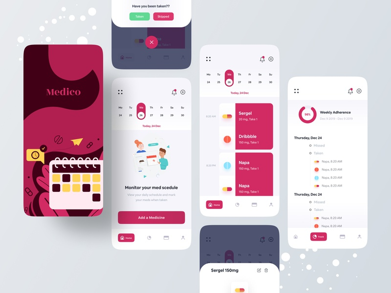 Medicine Reminder App pattern illustraion trend 2020 uxdesign uidesign typography productdesign mufidul islam tapadar mobile application minimal design inspiration medical reminder medicine component colorful app best designer app designer app design app concept