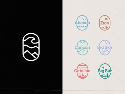 Travel Agency Logo grain lineart badge logo badge nature travel agency branding minimal national park icon travel