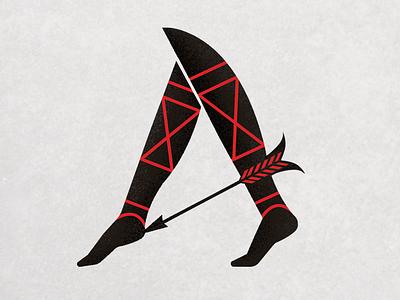 A for Achilles greek flat digital illustration icon typography digital art design creative arrow leg foot trojan achilles vector branding concept logo illustrator character