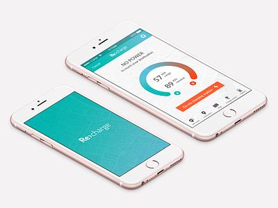 Recharge App drive mobile ui car navigation electric car mobile visual identity visual design ux  ui