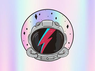 Rebel Rebel sticker holographic retro space astronaut bowie graphic design illustration design
