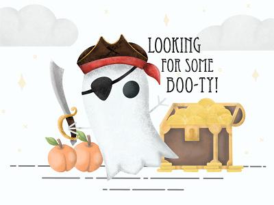 BOO-TY procreate art booty ghost pirate illustrator apple pencil ipad pro procreate app graphic design illustration design