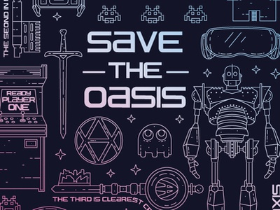 Save the Oasis gaming ready player one fantasy vector design vector illustration vector graphic design illustration design