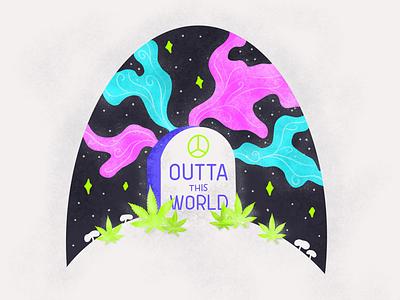 😉👽✌🏼💨 space gravestone graphic design illustration design