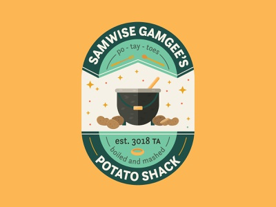 What's Taters, Eh? fantasy badge lord of the rings icon flat logo branding vector illustration design