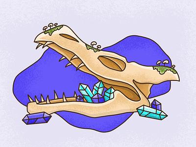 Dragon Skull skull dragon fantasy flat icon vector illustration design