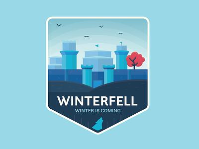 Winterfell fantasy winter is coming winterfell game of thrones flat icon logo branding vector illustration vector graphic design illustration design