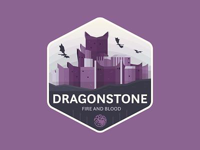 Dragonstone badge fantasy dragons dragonstone game of thrones flat icon logo branding vector graphic design illustration design