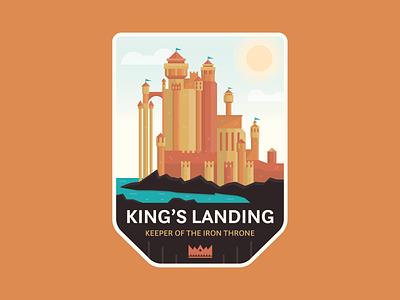 King's Landing fantasy badge iron throne kings landing game of thrones flat icon logo branding vector graphic design illustration design