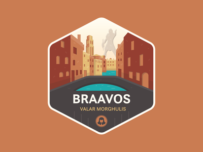Braavos braavos game of thrones fantasy vector illustration icon badge flat vector graphic design illustration design