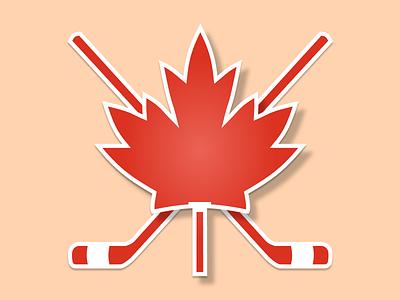 Canada Sticker - Maple leaf and ice hockey sticks sticks hockey ice leaf maple canada rebound sticker