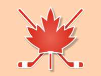 Canada Sticker - Maple leaf and ice hockey sticks