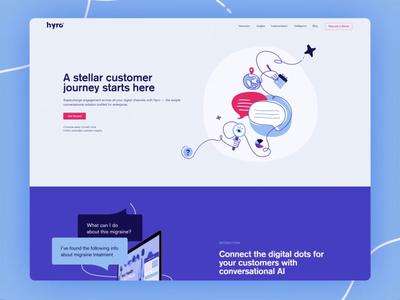 Hyro web design flow motion layout technology scribble blue illustration webdesign website web
