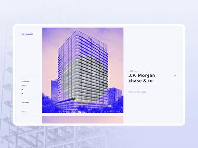 Siteaware dashboard list feature filter ui blue uxui real estate jobsite dashboard motion