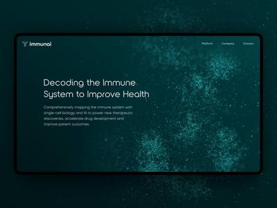 Immunai website lights dark system data science particles header website ux motion ui