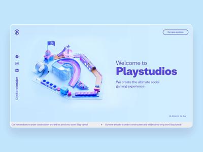 Playstudios landing page web design blue surface motion flip machine ball playful fun game loop animation landing page website