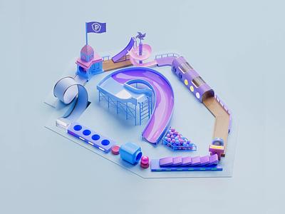 Playstudios logo animation slide purple blue surface flip machine fun playful play game loop logo 3d model process animation motion 3d