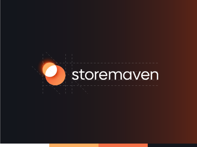 StoreMaven's branding shape business card glow orange round sun gradient moon branding logo circle eclipse planet typography