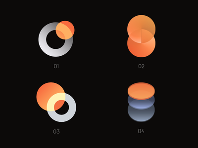 Logo Variations opacity round logo circle orange icon illustration logo vector branding design