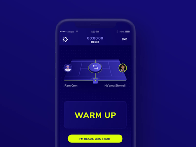 Baseline's mobile app CountDown Ui Animation product design vector yellow blue competition game bounce minimal ball sport tennis countdown interaction mobile app motion design ui ux animation