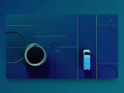 Mobileye ME8 movie 🚘 cars pedestrian crossing motion design blue pedestrain cyclist warning movie dark render motion animation car