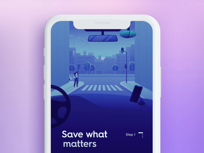 """Getnexar"" App 🚗 onboarding app design graphic design mobile city car motion graphics purple product design motion vector illustration animation ux ui"