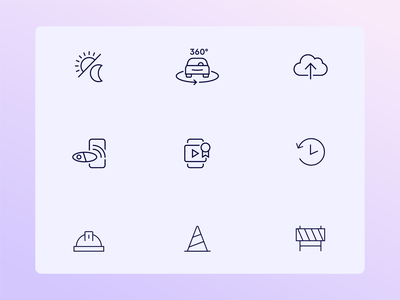 Nexar's icons set 🤩 product design mobile web design graphic design minimalistic brand identity branding car purple vector illustration flat icon set icon app
