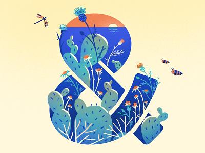Summer 2018 creative illustration blue cactus flowers hot sea sunset weather season israeli summer