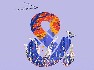 Autum design illustation purple blue blossom seasons flowers orange sunset weather season autumn illustrator