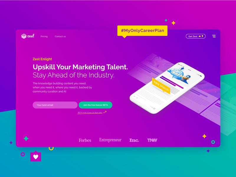 Zest Header platform media social purple gradient header website web design ux ui
