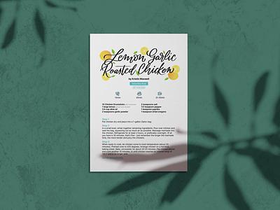 Lemon Garlic Roasted Chicken editorial layout print card recipe lemons editorial lettering illustration