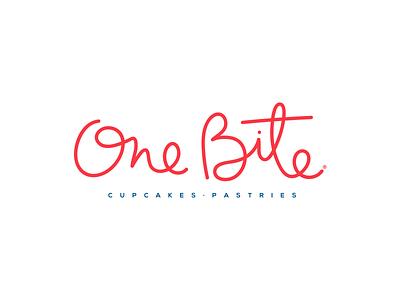 One Bite Logo pastries bakery cupcakes packaging calligraphy lettering brand logo identity branding