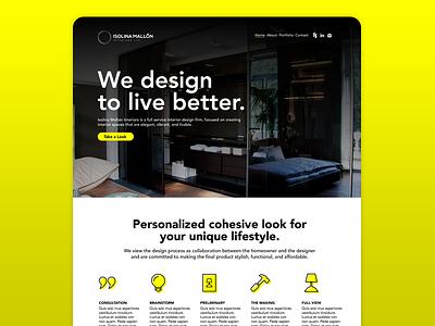Interior Design Site identity yellow hero call to action branding ux landing page ui