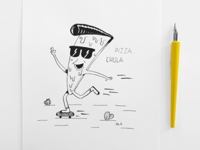 Cheesy Rockabilly Pizza doing skateboard