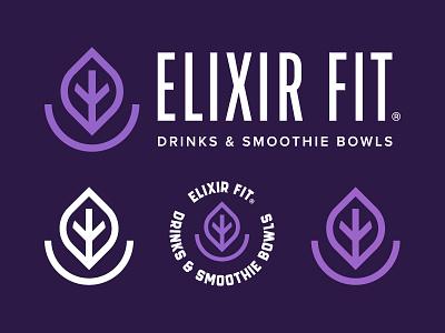 Elixir Fit drinks purple smoothiebowl bowl smoothies smoothie branding brand color mark logotype symbol icon logo design