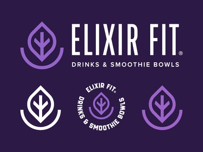 Elixir Fit drinks purple smoothiebowl bowl smoothies smoothie branding brand color mark logotype symbol icon logo design