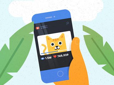 Cat Video kitten cat kitten flat cartoon vector illustration cat art brand youtube video smartphone kitty cat