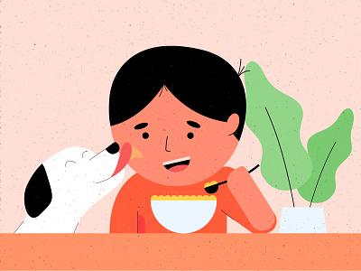 Morning breakfast flat illustration vector puppy illustration flat breakfast cereal eating cereal dog art dog cartoon brand