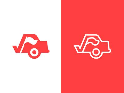 Car + Flag + Checkmark