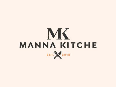 Manna Kitche logotype text symbol mk knife fork kitchen icon design logo