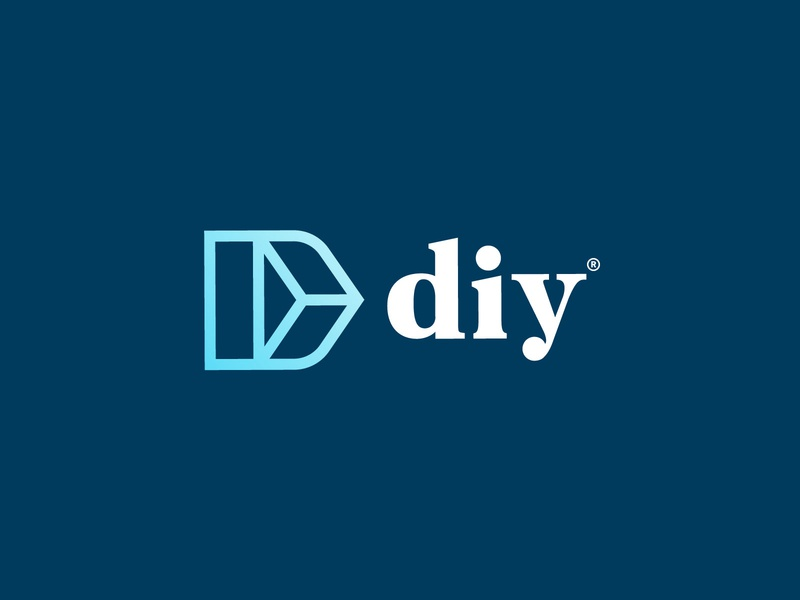 Diy symbol geometric letter d serif blue logotype logo icon design diy