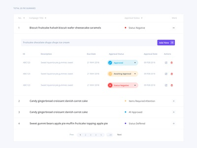 Approval page ui design ux dropdown options table approval page design