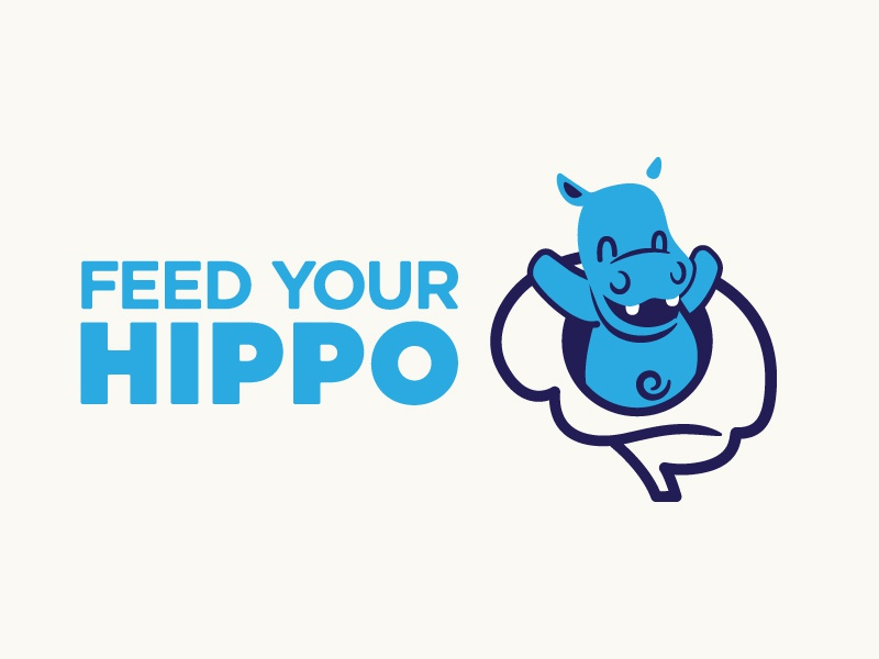 Feed You Hippo msu university mcmaster jmb animal illustration logo hippo feed