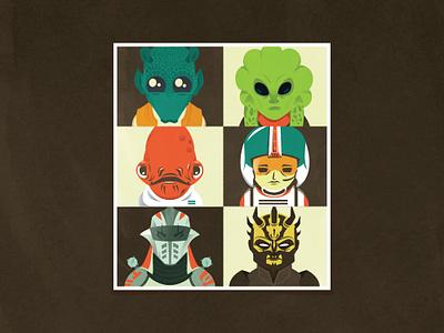 Star Wars Poster savage opress durge wedge antilles plo koon greedo admiral ackbar design illustration