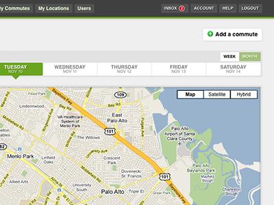 Carpool App Commutes Page web app ui