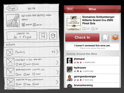 SocialGrapes Wine View, Wireframe and Render Comparison wireframe render ios app socialgrapes wine detail-view comparison checkin foursquare gowalla