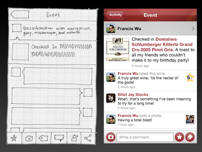 SocialGrapes Event View, Wireframe and Render Comparison app ios socialgrapes wine event checkin comparison detail-view foursquare gowalla render wireframe