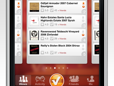 SocialGrapes Render Tab Bar socialgrapes wine ios app render tabbar navigation checkin scan