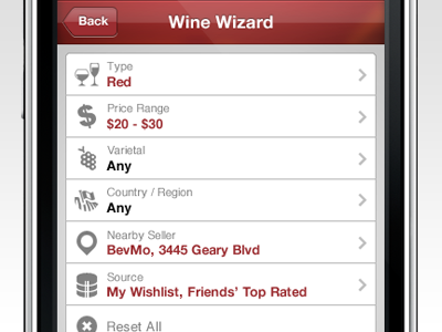 SocialGrapes Render Wine Wizard app ios socialgrapes wine render recommendations parameters search